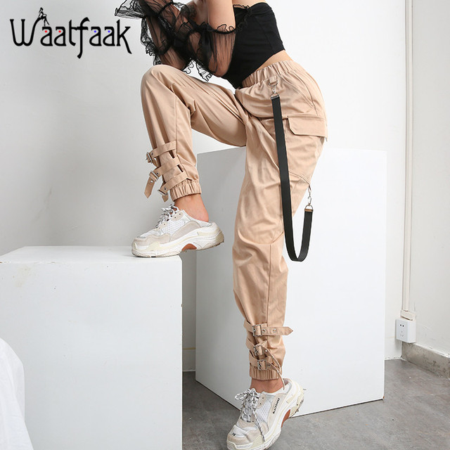 Waataak Elatic High Waist Harem Pants Women Cloth Chain Buckle Pantalon Khaki Pocket Long Casual korean pants Pencil Autumn 2018