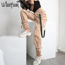 Waataak Elatic מותניים גבוהים הרמון מכנסיים נשים בד שרשרת אבזם Pantalon חאקי כיס ארוך מזדמן קוריאני מכנסיים עיפרון סתיו 2018