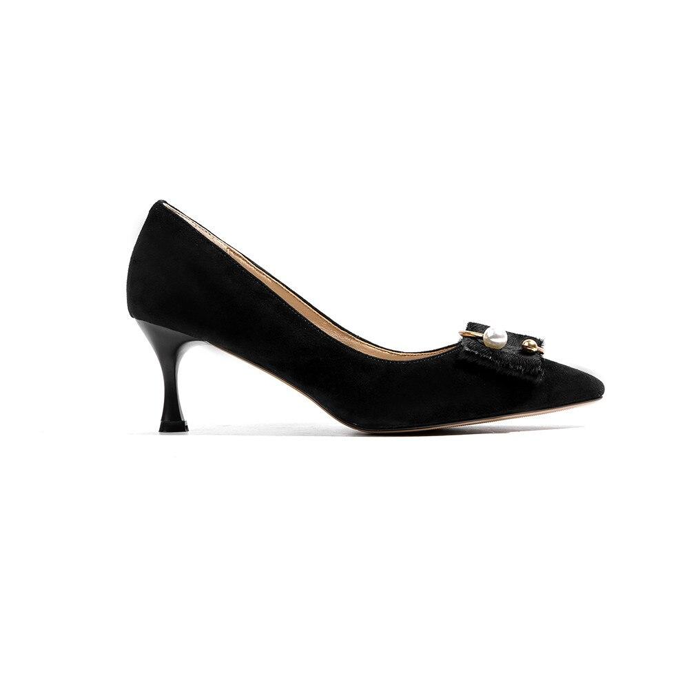Daim Mince Chaussures Haute Talon Femmes Bout Talons Printemps Femme Peu Noir Pointu Mode Asumer 2018 En Profonde Automne Cuir Élégantes qFwTvPI