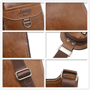 Image 5 - JEEP BULUO BRAND New Men Messenger Bags Hot Crossbody Bag Famous Mans Leather Sling Chest Bag Fashion Casual 6196