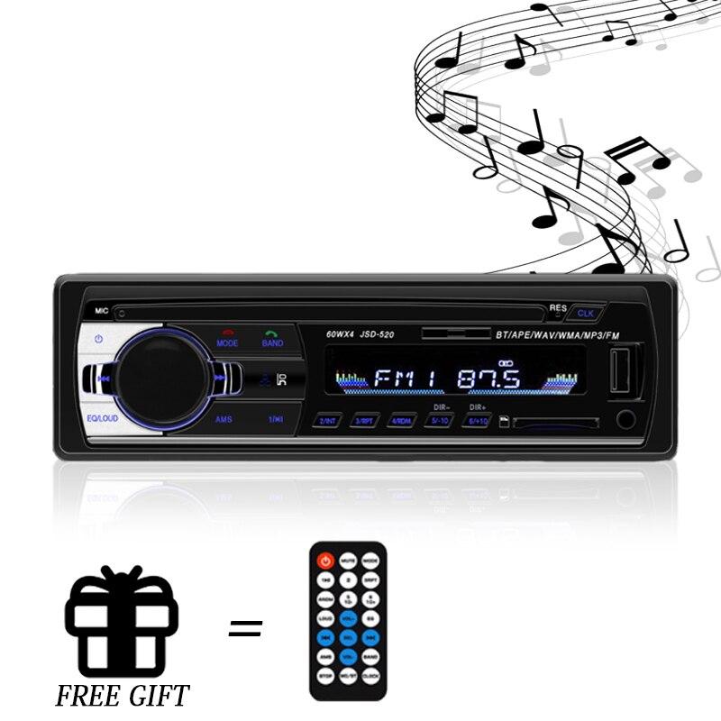 Автомагнитола Bluetooth Автомагнитола Автомобильная стерео радио FM Aux вход приемник SD USB JSD-520 12 В в-тире 1 Din автомобильный MP3 мультимедийный плеер