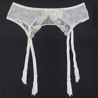 New White Embroidery Floral Bow Gauze Metal Clips Women Female Sexy Garter Belt For Stocking Fashion