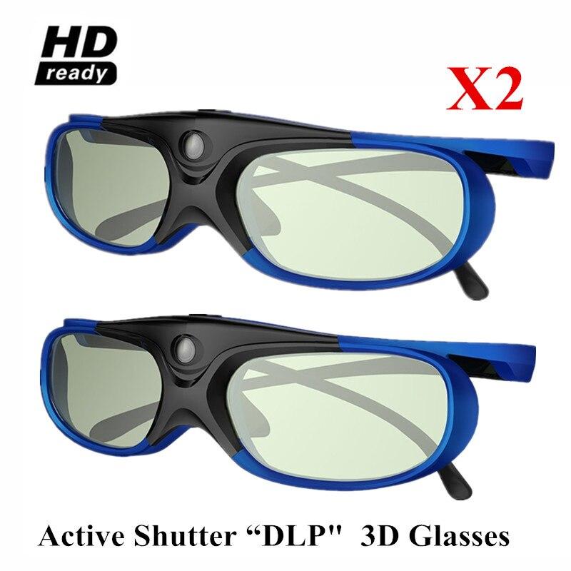 2x 96-144HZ Recarregável 3D Óculos de Obturador Ativo Para BenQ Acer X118H P1502 X1123H H6517ABD H6510BD Optoma JmGo XGIMI Projetor