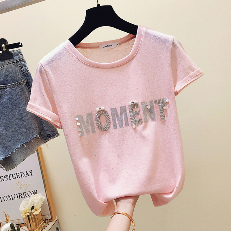 Ice Silk T-shirt Female Summer 2019 New Korean Fashion Letters Printed Short Sleeve T-shirt Super Fire Top Girl Students Shirts