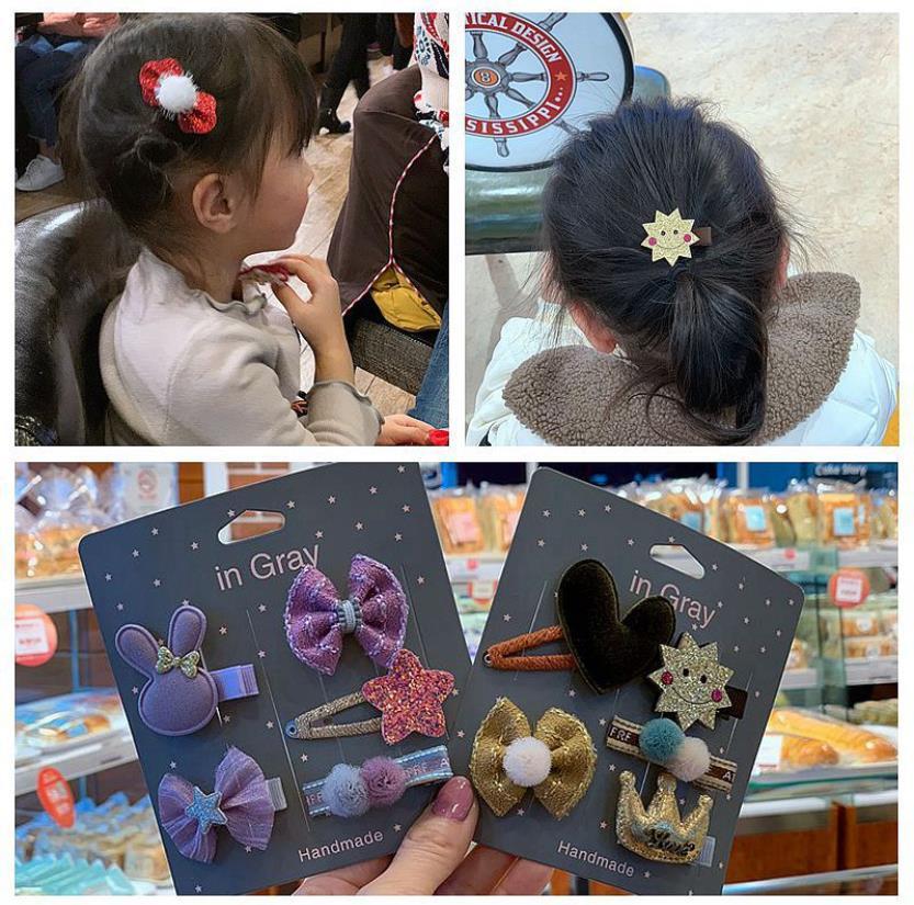 5pcs Barrettes Baby Hair Clips Girls Bow-knot Hairpins Headwear Hair Ties Cute