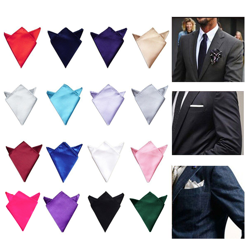Hot 22*22cm Satin Solid Handkerchief Black Red Blue Suits Pocket Square Party Head Wrap Neck Scarf Wedding