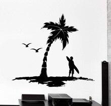 تصفح النخيل شجرة شعار الفينيل الجدار صائق عشاق الرياضة المتطرفة مغامرة المحيط البحر مدرسة عنبر ديكور المنزل صائق 2CL16