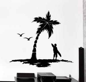 Image 1 - Autocollant mural en vinyle 2CL16 avec Logo palmier, sports extrêmes, amateurs daventure, océan, bord de mer, décoration pour la maison, pour dortoir décole