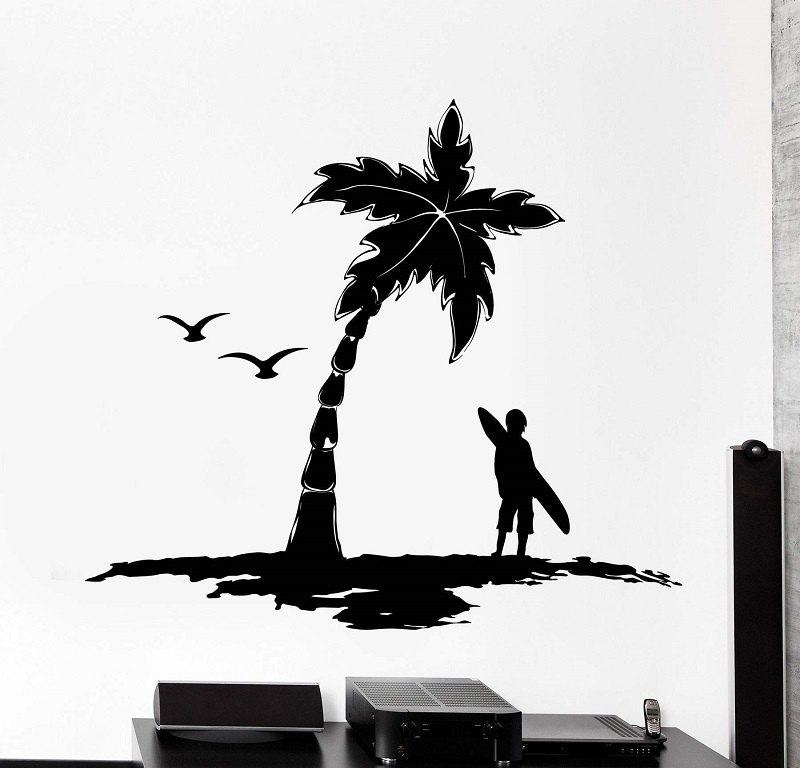Surf Palm Tree Logo Vinyl Wall Decal Extreme sports enthusiasts Adventure Ocean Seaside School Dormitory Home Decor Decal 2CL16-in Wall Stickers from Home & Garden