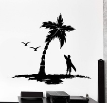 Surf Palm Tree Logo calcomanía de vinilo para pared para entusiastas de los deportes extremos aventura Ocean Seaside School dormitorio decoración del hogar etiqueta 2CL16