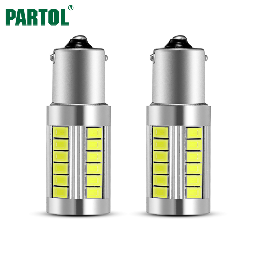 Partol 2 x 1156 BA15S LED Light Bulbs Super Bright P21W Auto Turn Side Lamp Brake Lights Car Reverse Fog DRL Interior Lamp White