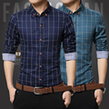 toturn Original Men Shirts Plaid Long Sleeve Man Clothes Blue & White & Red casual Cotton Shirt Slim Soft Shirt plus  5XL