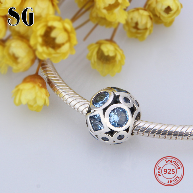 100% Authentic 925 Sterling Silver charms moment Collection Bead Clear Blue CZ Peace Charm Fits European moment Charms Bracelet