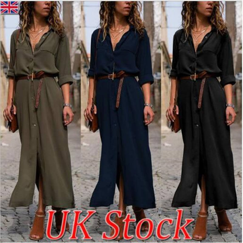 2019 Office Lady Turn-Down Collar Button Lace Up Long Shirt Dress Women Autumn Winter Long Sleeve Stripe Maxi Dresses C0384
