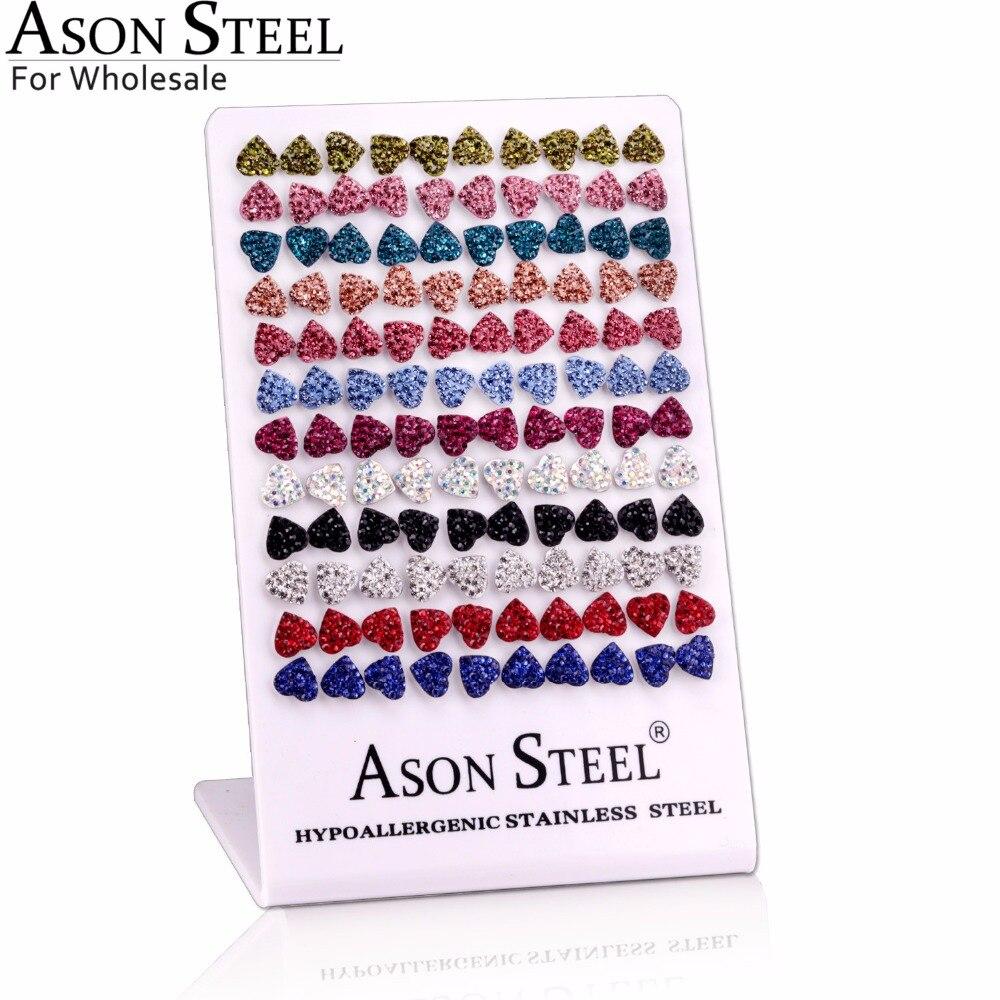 ASONSTEEL Wholesale 60Pairs Lot Stainless Steel Women Earrings Heart Shape Fashion Silver Earrings Top Quality