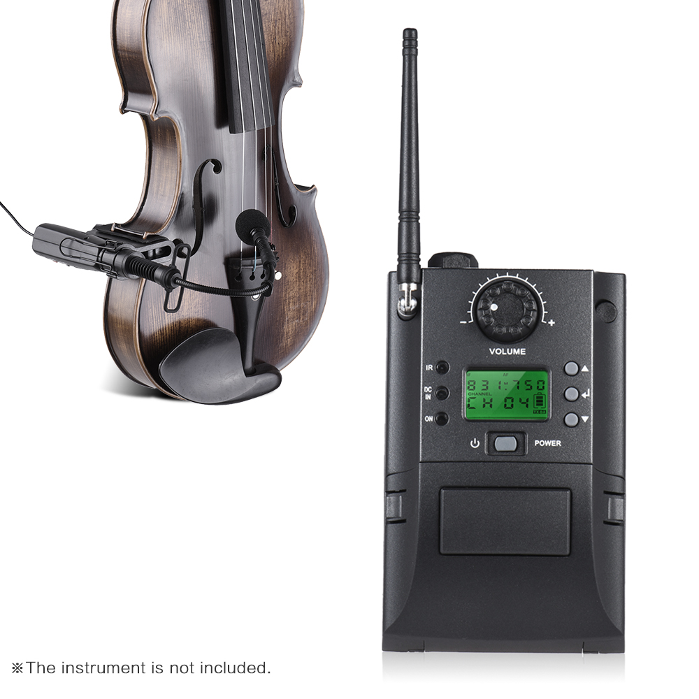 Portable UHF Instrument Wireless Microphone System with Receiver Transmitter 32 Channels for Violin