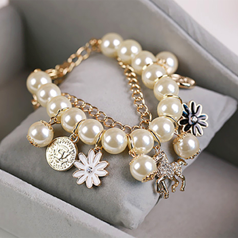 Pearl Bracelets For Women Simulated Pearl Jewelry Charm Horse Flower Commemorative Coins Pendant Bracelets