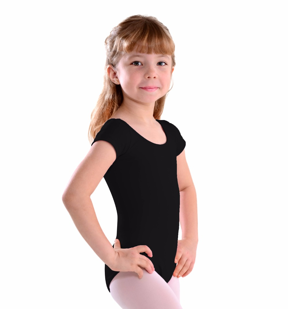 Multicolor Scoop Short Sleeve Girls Leotards Lycra Black Ballet Dance Leotards For Toddler Gymnastics Leotards Dancer Clothes