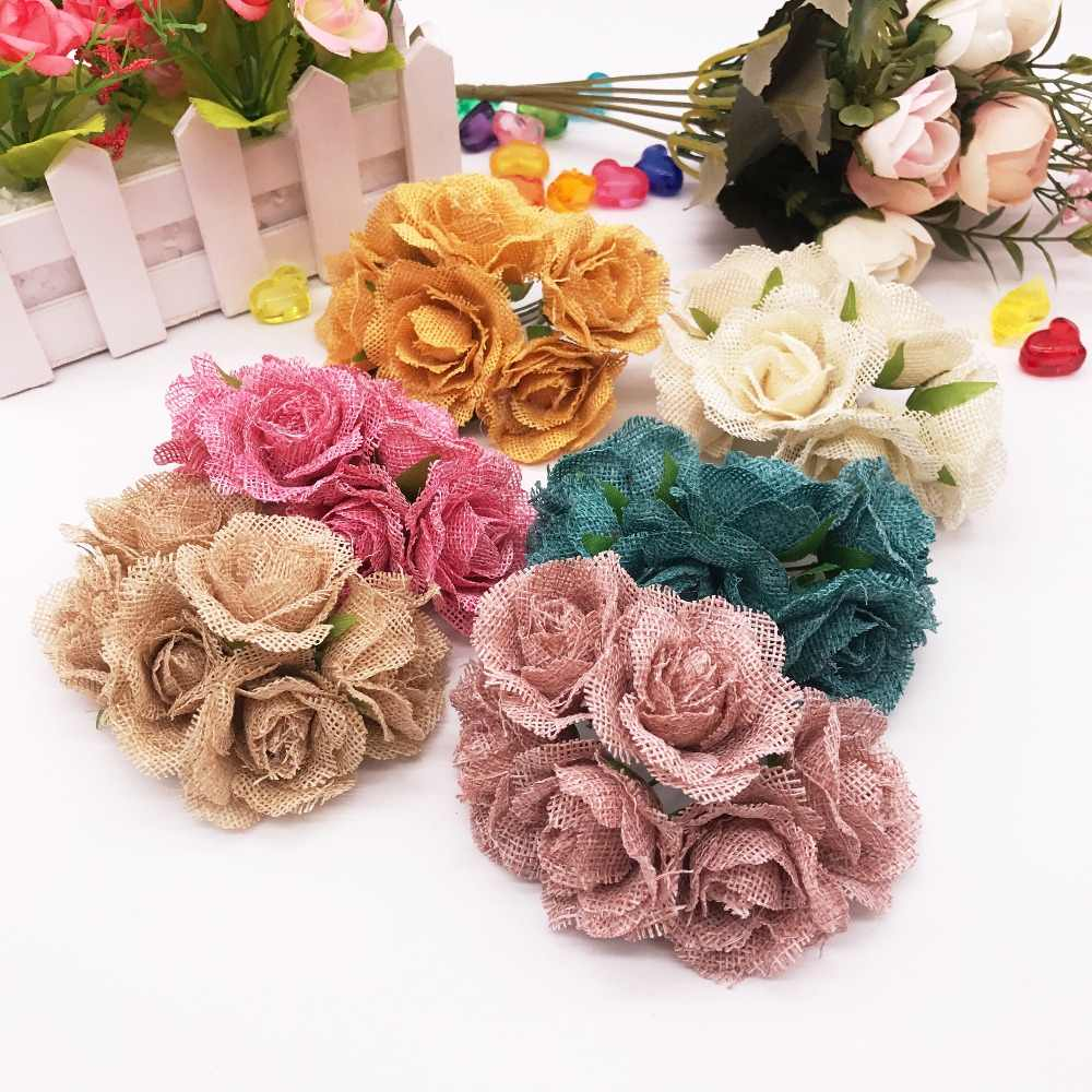 6pcs/lot 4CM Silk Linen Rope Artificial Rose Flower Bouquet Multicolor Scissors Flower Leaf Stamens Wedding Box Decoration
