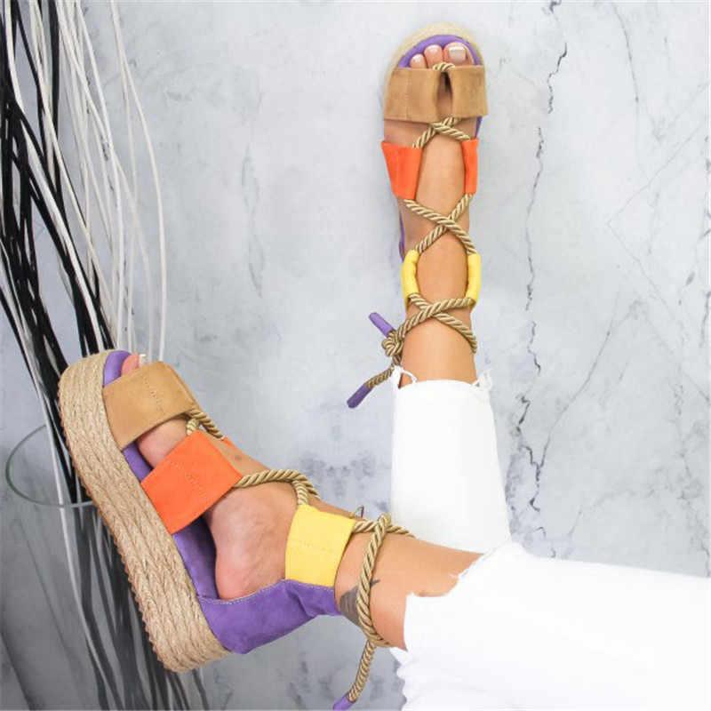 HEFLASHOR 2019 Torridity kadın sandalet tutturmak ayakkabı kadın plaj ayakkabısı topuk sandalet artı boyutu zapatos de mujer