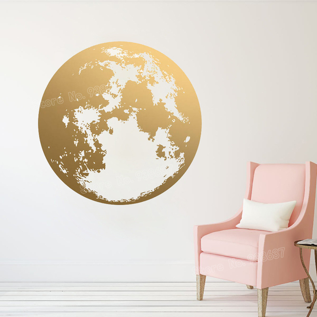 moon wall decal bedroom gold unique modern decor art stickers