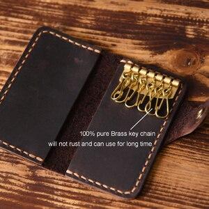 Image 5 - 높은 클래스 수제 남자 정품 가죽 키 홀더 가죽 키 지갑 남자 가정부 여자 키 케이스 가방 키 주최자 파우치