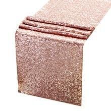 12'x108' розовое золото со сверкающими блестками настольный бегун, роза с блестками Золотой настольный бегун вечерние поставки тканевые украшения