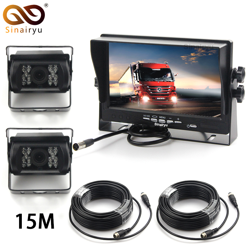 DC24V Truck Bus Parts 7 Car Video Parking Monitor With 2 Ways Aviation joint IR Night Vision Rear View Camera 15M Video Cable diysecur 4pin dc12v 24v 7 inch 4 split quad lcd screen display rear view video security monitor for car truck bus cctv camera