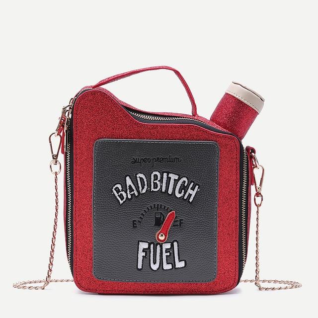9aa6ab4c90 Embroidery letters gasoline bottle shape bright chain handbag shoulder bag  ladies purse flap totes