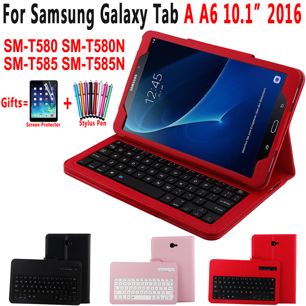 Detach Wireless Bluetooth Keyboard Leather Case Cover for Samsung Galaxy Tab A A6 10.1 inch 2016 T580 T585 T580N SM-T580 SM-T585