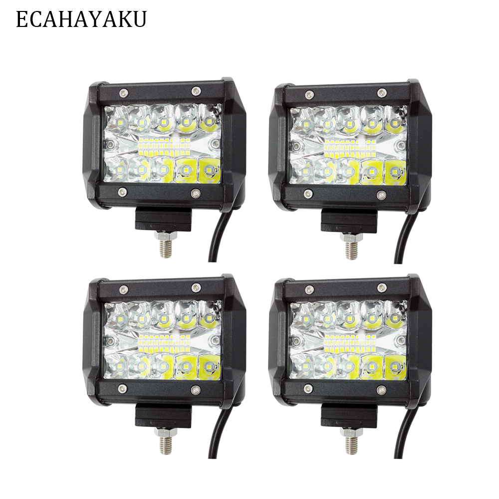 ECAHAYAKU 20 pcs 4inch LED Work Light Bar 60W Flood Beam 12V 24V car styling FOR