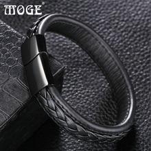 Trendy 12*6mm Black Brown Genuine Leather Bracelet Men Stainlees Steel Cuff Bracelets & Bangles Male Jewelry Gifts