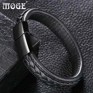 MOGE Black Men Steel Cuff Male Jewelry Gifts