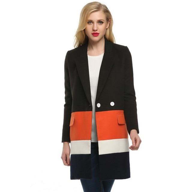 Women Trench Coat Lapel Long Sleeve Loose Wool Blend Splicing Color Long Coat Jacket Overcoat Winter Black Gray