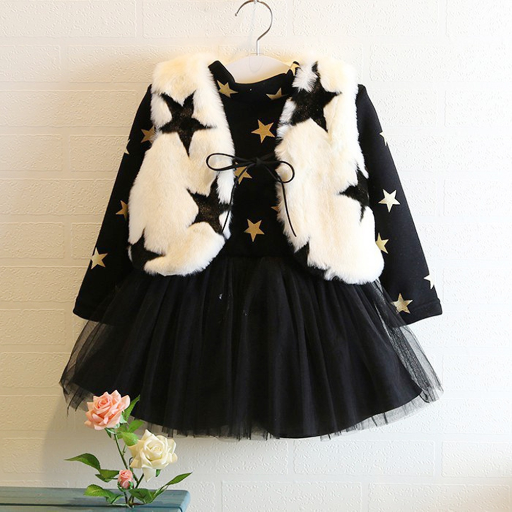 Girls do not fall cashmere fight nets dress with five-pointed star rabbit fur vest new vest two-piece girl beautiful dress H2881