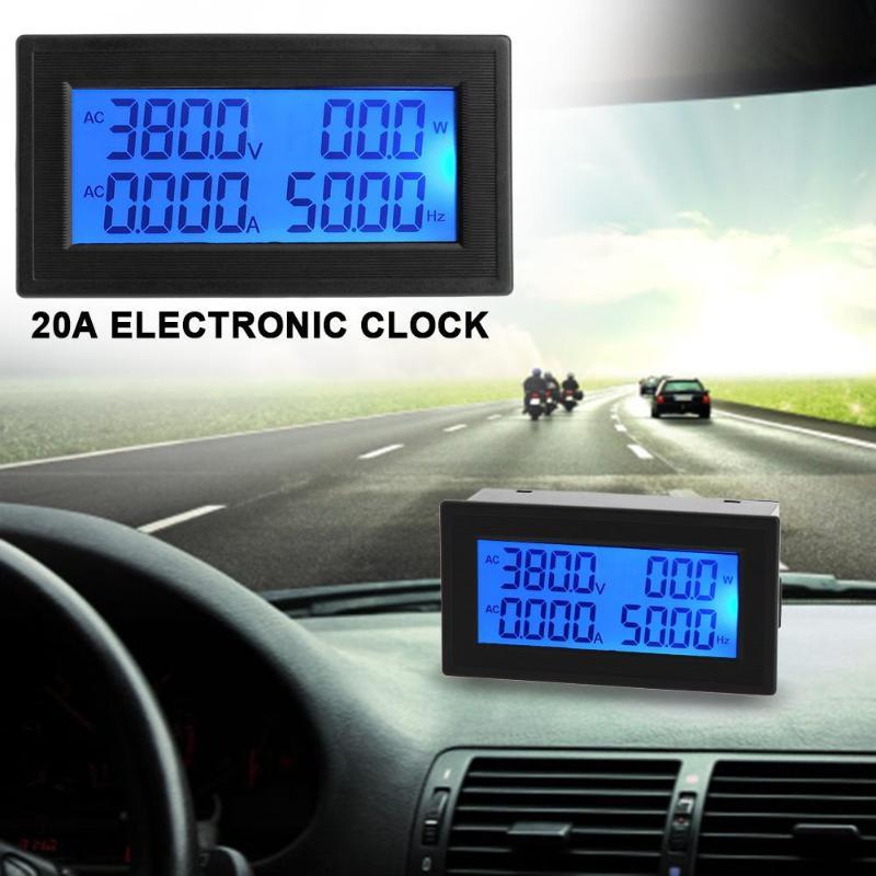 6in1 AC 60-500V/20A Blue Backlight LCD Digital Multifunctional Panel Meter LCD Digital Amp Volt Current Meter Tester Monitor