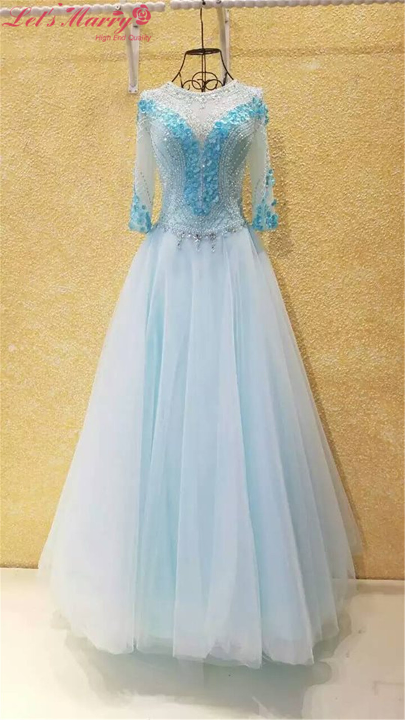 WDZ 336 White And Blue Prom Dresses 3/4 Sleeve Backless Party Dress ...