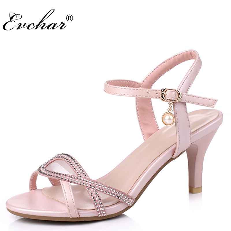 Summer Rome Style Sandal Fashion 7cm Gladiator Women Sandals thin High Heels Ankle strap Pink White Women Shoes Size 30-43 2015 summer new rome sweety fish head mixed color women sandals high heels women sandal breathable comfort women sandals e1092