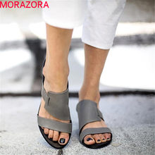MORAZORA 2019 New explosions women sandals solid colors summer shoes simple fashion casual shoes woman flat shoes big size 48(China)