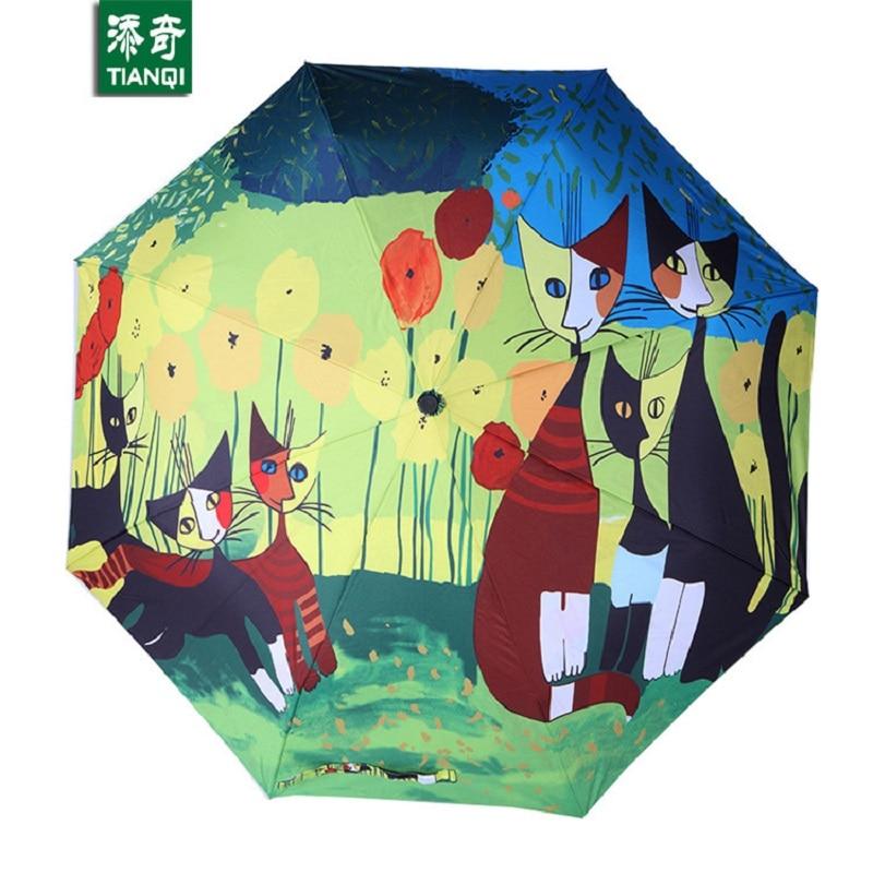 ภาพวาดสีน้ำมันแมวแบบฝน / ดวงอาทิตย์ร่ม, 3 พับหนาป้องกันรังสียูวีแฟชั่นการออกแบบศิลปะนามธรรมผู้หญิงร่ม