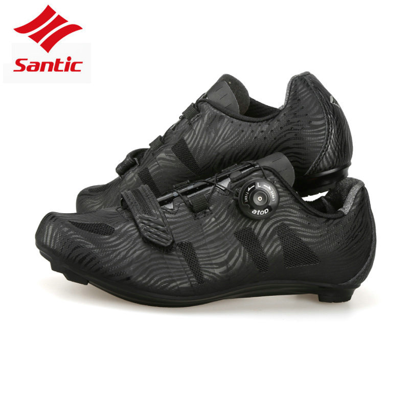 Santic TPU Breathable Self locking Athletic Cycling Road Shoes Black Racing Team Bicycle Shoes Bike bicicle