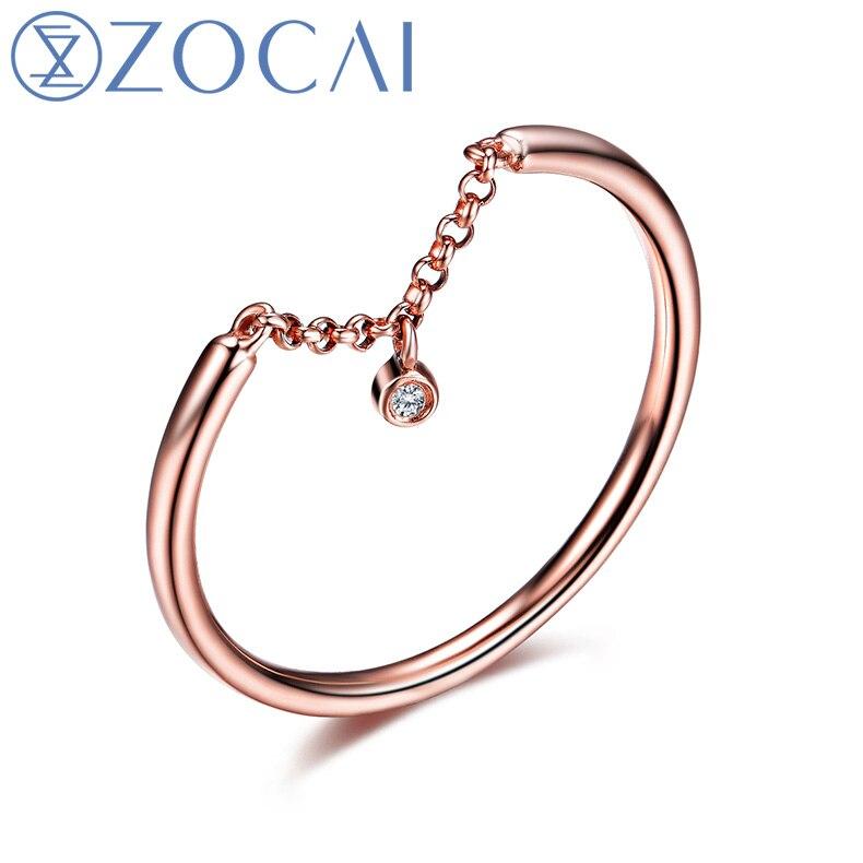 ZOCAI Regalo di Disegno Anello Naturale 0.006 CT Diamond Ring con 18 K Rose Gold (Au750) W06225