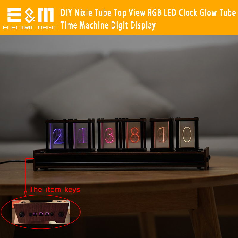 DIY Channel Letter Full Color Nixie Tube Top View RGB LED Clock 5 Level Glow Tube Digit Display 5V USB Support WIN 7 8 10 Mac