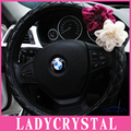 Ladycrystal Red White Flowers High Quality PU Leather Cute Steering Wheel Cover For 38 CM Car Steering Wheel Covers For BMW