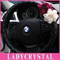 Ladycrystal Vermelho Flores Brancas De Alta Qualidade PU de Couro Bonito de Direção Tampa da roda Para 38 CM Volante Do Carro Covers Para BMW