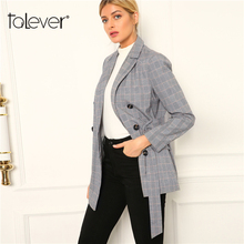 Women Autumn Long Blazers Female Plaid Blazer Jacket Office Lady Slim Gray Long Coat Women's Jacket Outwear Plus Sizes Talever