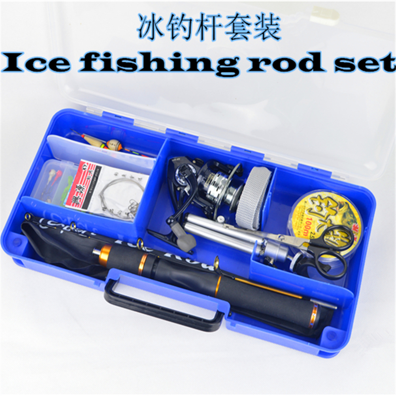 Carbon 59cm ice fishing rod combo set fishing reel line hook rod set fishing tackle