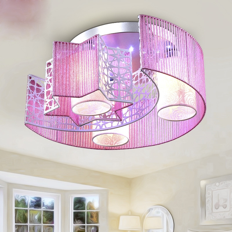 Bedroom lamp warm and romantic children room lamp modern simple creative circular led light lamp Ceiling Light