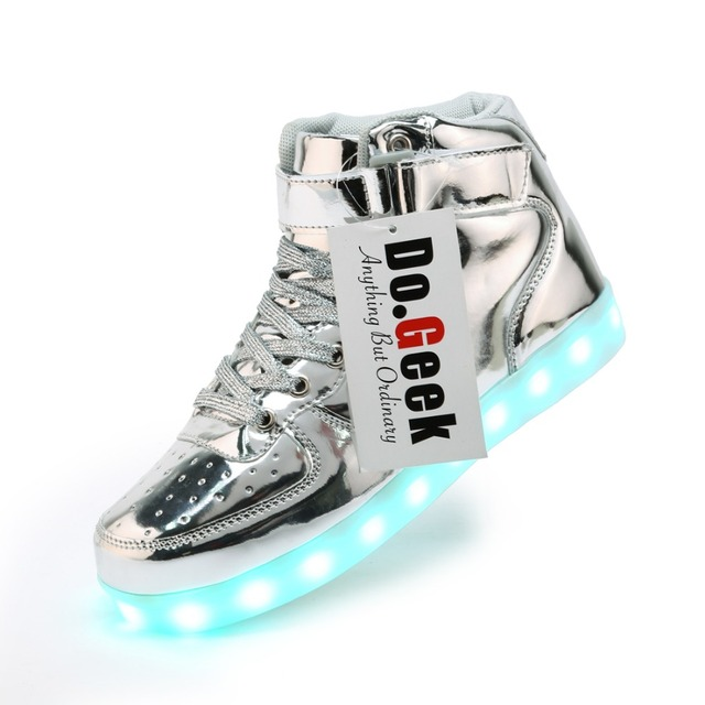 95d6f554347f DoGeek High Top Men Led Shoes Stylish Light Up Shoes For Adults Silver Gold  Glowing Light Up Shoes Flat Casual Shoes USB Charge