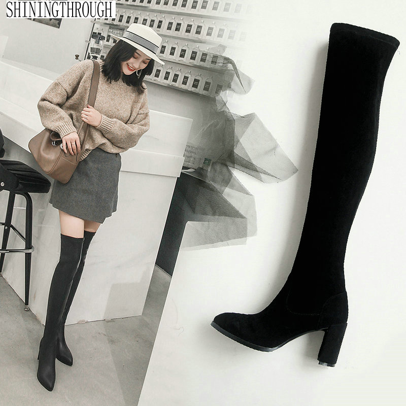 Sexy high heels over the Knee High women Boots Design Women party wedding Shoes poined toe Women Boots large size 42 43 купить недорого в Москве